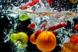 Various Fruit Splash on water