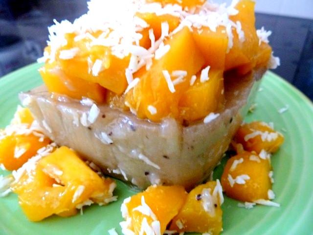 recette mangue sur flan banane