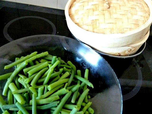 haricots verts à la vapeur douce
