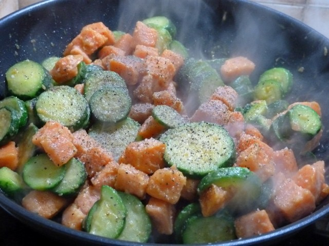 patates douces courgette au wok