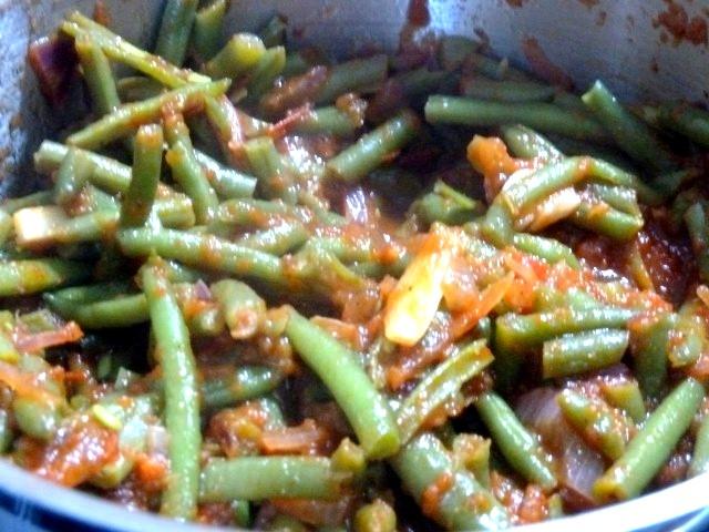 haricots verts mijotes dans sauce