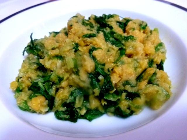 assiette de verdure aux lentilles corail