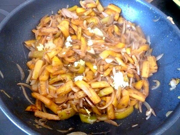 poivrons jaunes aux oignons gingembre