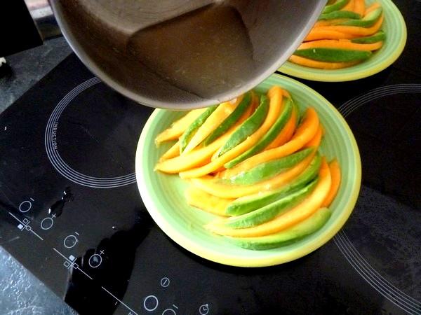 melon avocat en gelee citron verser tiede