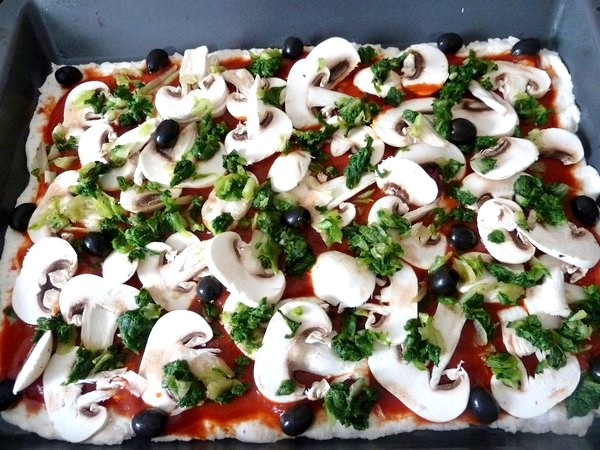 pizza green garniure etalee