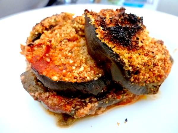 aubergines sauce tomate et noix de cajou servir