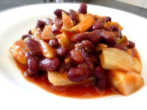 haricots rouges fenouil en sauce tomate dressage