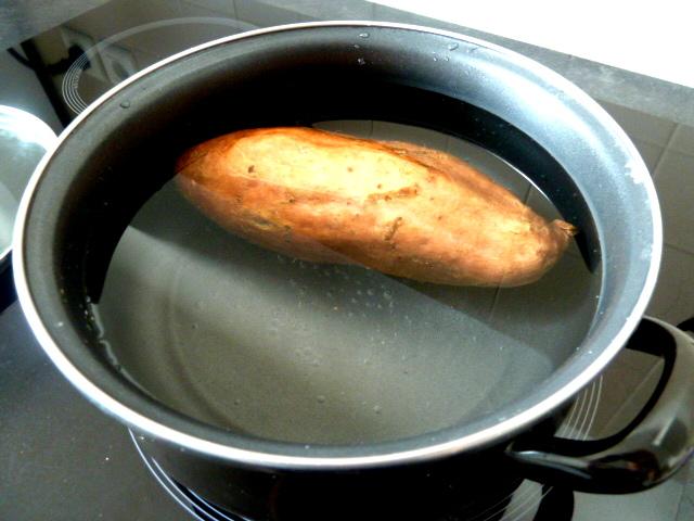 framboises sur creme banane patate douce