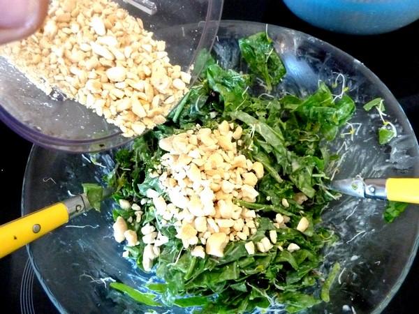pousses epinards et graines germees aux noix de cajou