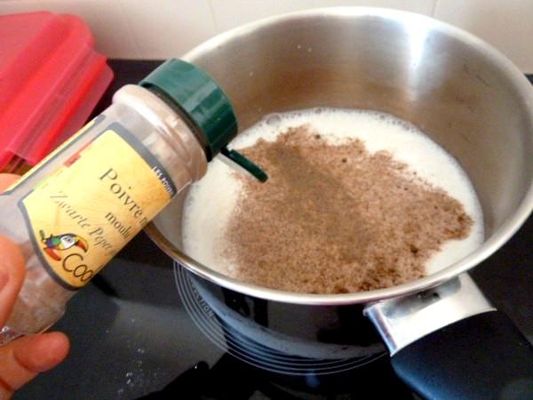 courgettes en lamelles sauce bechamel poivre