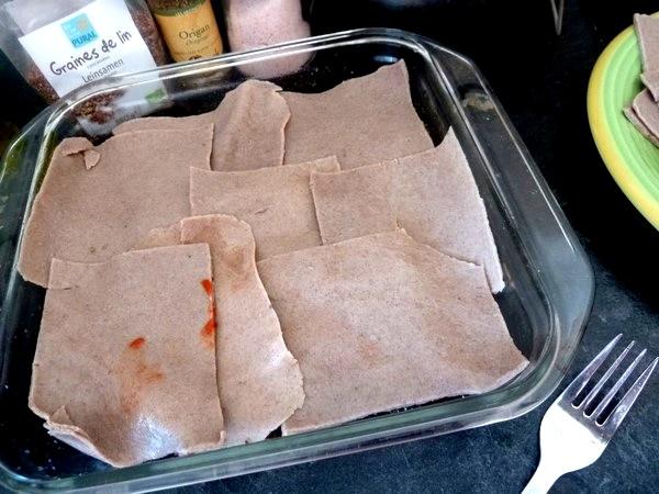 Lasagnes aux aubergines et tomates couche pate sarrasin