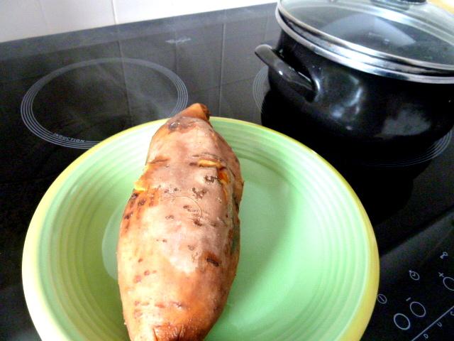 framboises sur creme banane patate douce cuite