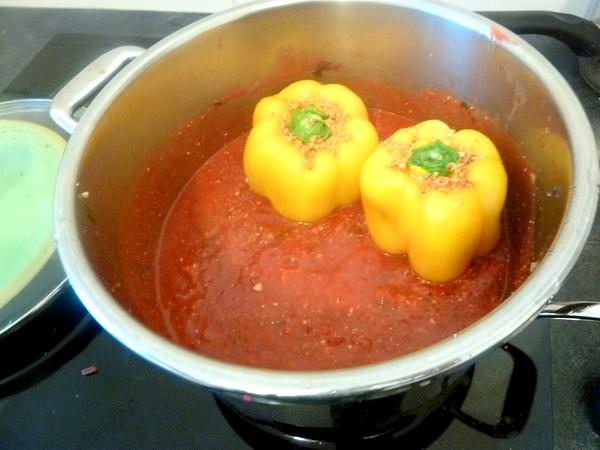 poivrons farcis aux legumes et tofu plonger poivrons