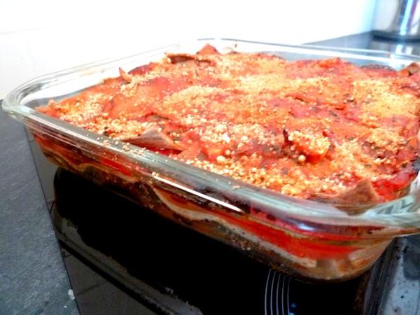 Lasagnes aux aubergines et tomates gratiner 30 minutes