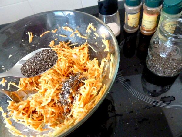 Galettes aux 2 patates rapees graines chia