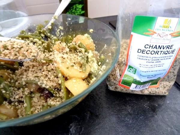 salade-proteinee-haricots-verts-tofu-chanvre-decortique