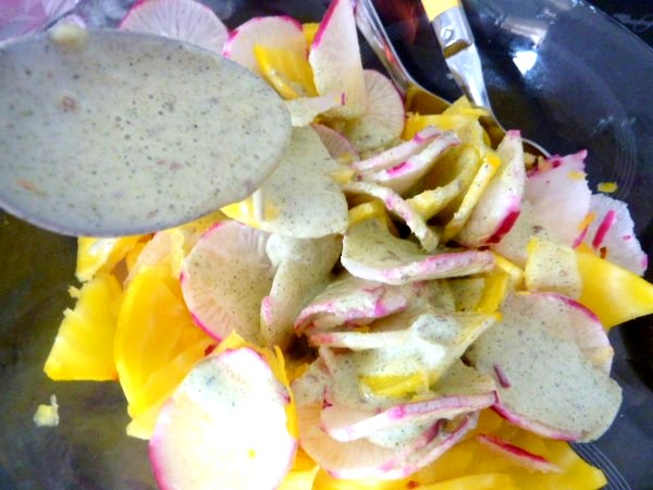 petales-radis-betterave-jaune-sauce-anis-assaisonner