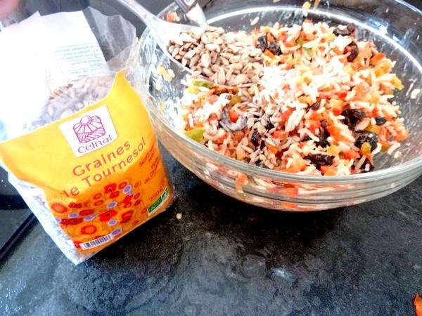 salade de riz au poivron cru et graines de tournesol