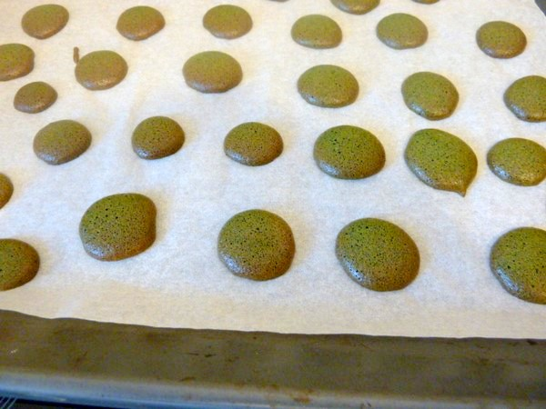 macarons-spiruline-ganache-chocolat-cru-cuisson-160-15-minutes