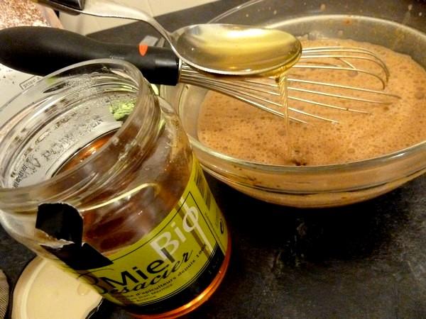 flan banane cacao ajuster miel