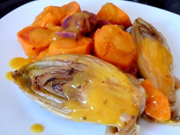 endives-sauce-agrume-et-patates-douces-dresser