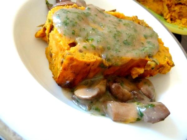 pave de patates aux champignons dresser