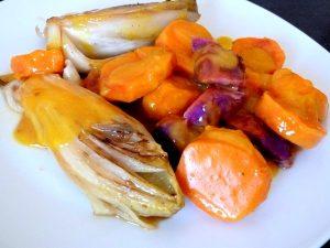 endives-sauce-agrume-et-patates-douces-servir
