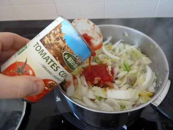 chou chinois au tofu jus tomates concassees
