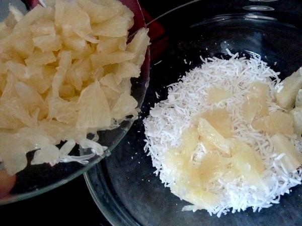 crudités noix de coco pamplemousse chinois rassembler