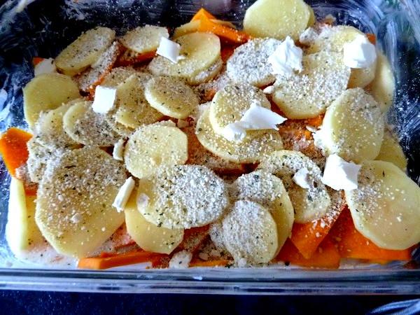 gratin de courge et pomme de terre couche patates