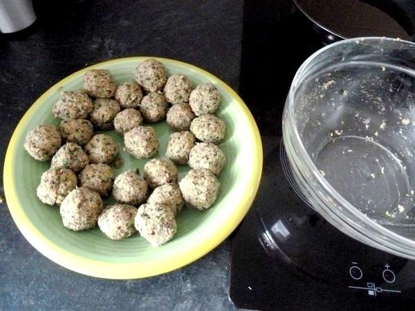 falafels aux haricots graines de lin persil former boules