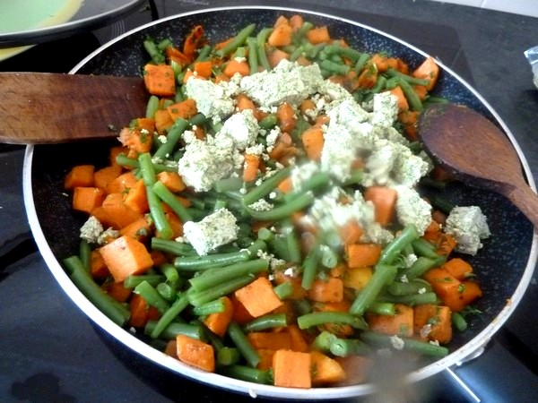 haricots verts patates douces au tofu pesto