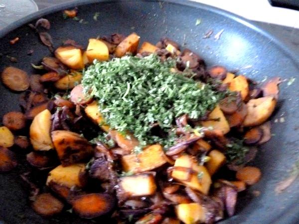 carottes et panisse dorees persil