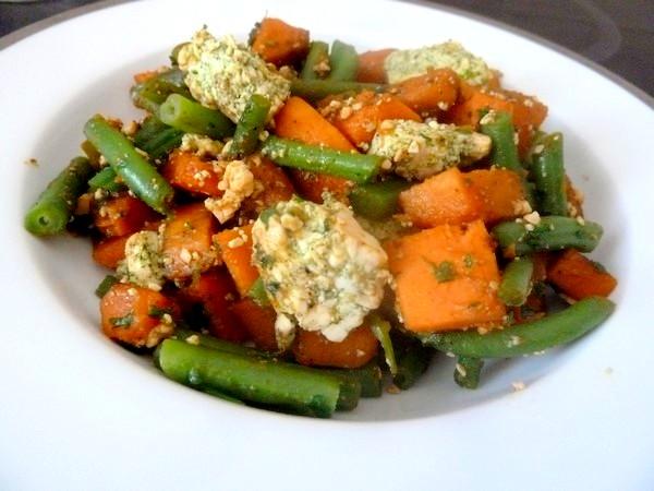 haricots verts patates douces au tofu dresser