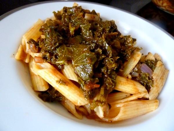 pates sans gluten au chou kale dresser et rajouter