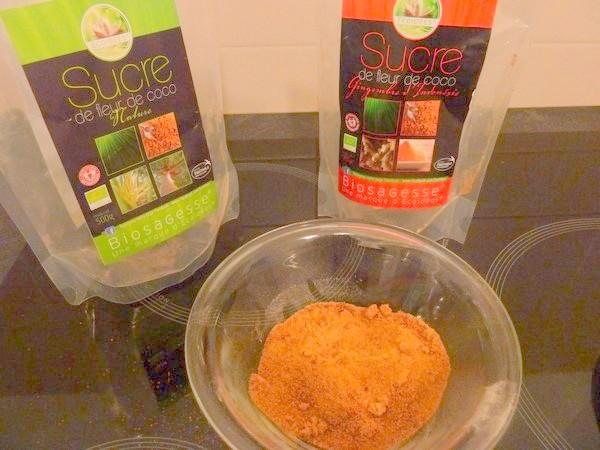 crumble poire pruneaux sucre coco