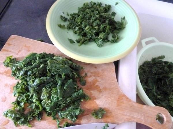 pates sans gluten au chou kale essorer emincer