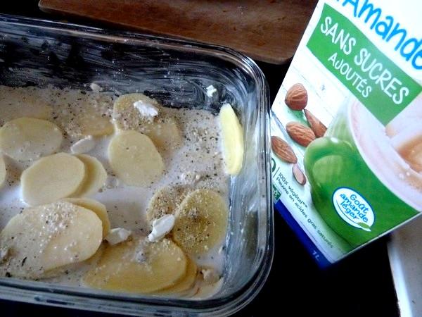 gratin de courge et pomme de terre lait amandes