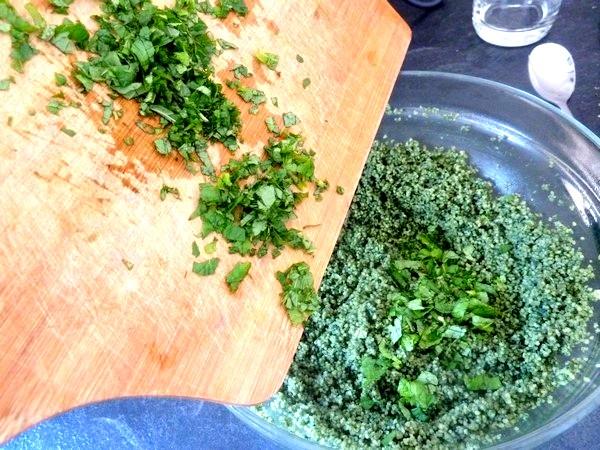 green taboule spiruline menthe emincee