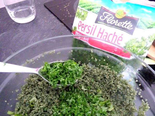 green taboule spiruline persil