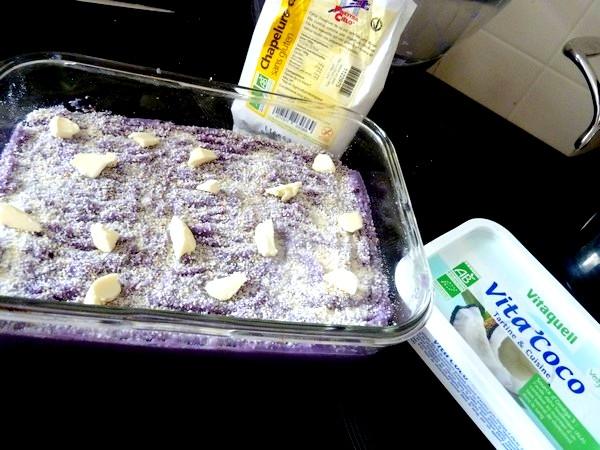 panisse et purée panais chou rouge chapelure beurre vegetal