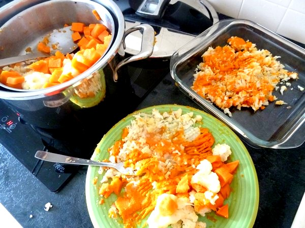 chou-fleur patate douce creme champignons ecraser