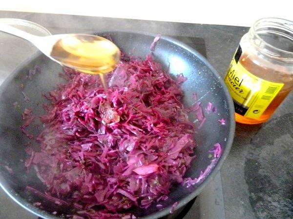 chou rouge aux aromates et patates douces miel