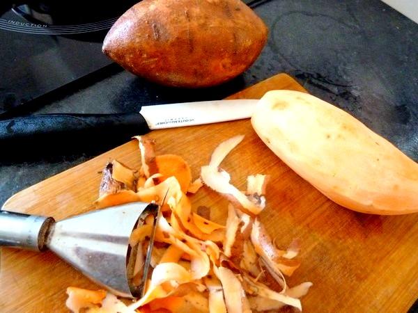 chou rouge aux aromates et patates douces peler