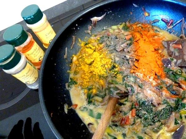 tarte aux graines blettes et oignon rouge curry paprika poivre