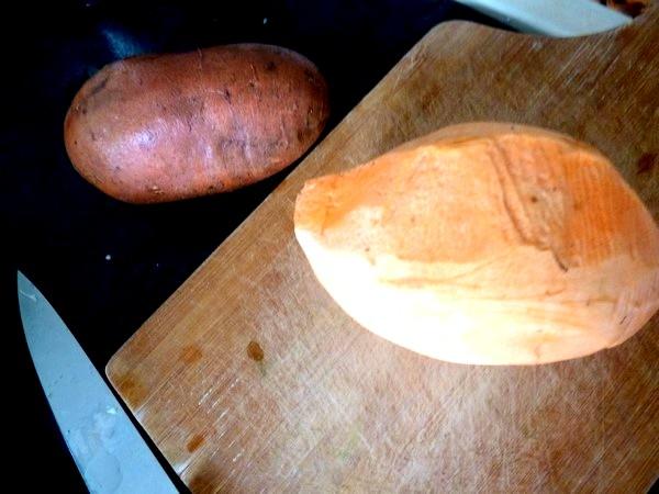 chou-fleur patate douce creme champignons peler