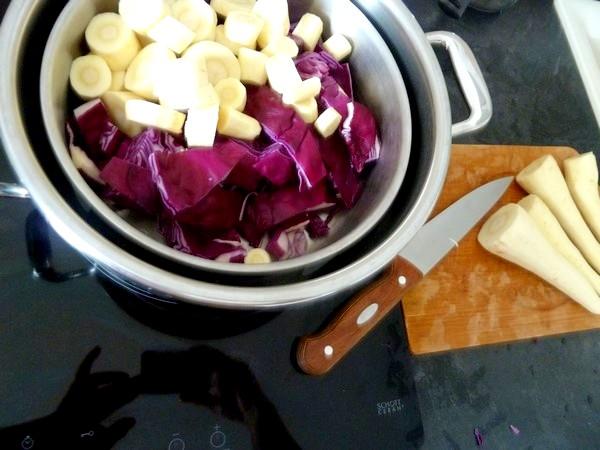 panisse et purée panais chou rouge cuisson vapeur
