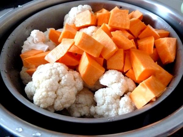 chou-fleur patate douce creme champignons vapeur