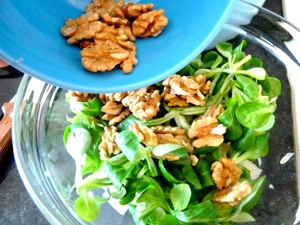 salade de mâche pomelos et noix