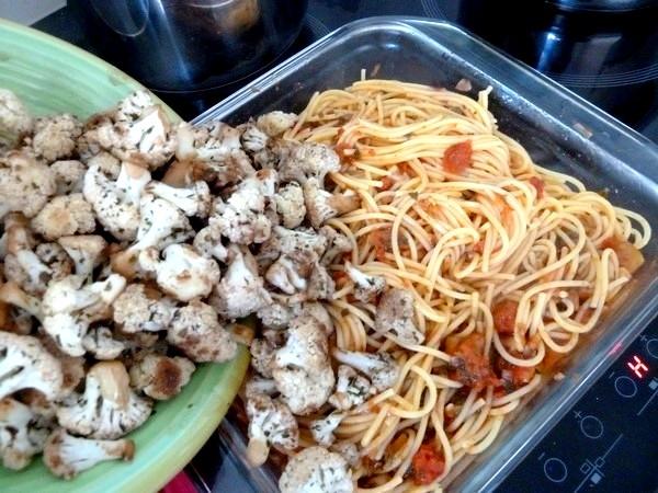 spaghettis au chou-fleur